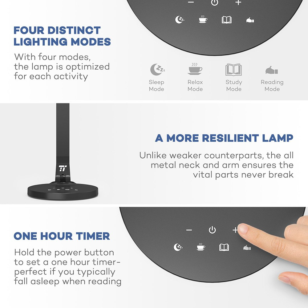 TaoTronics LED Desk Lamp Fully Rotatable Dimmable, Wider Lighting Zone, USB Charging Port, 4 Color Modes and 4 Brightness Levels, 1 Hour Timer, Official Member of Philips EnabLED Licensing Program by TaoTronics (Image #4)