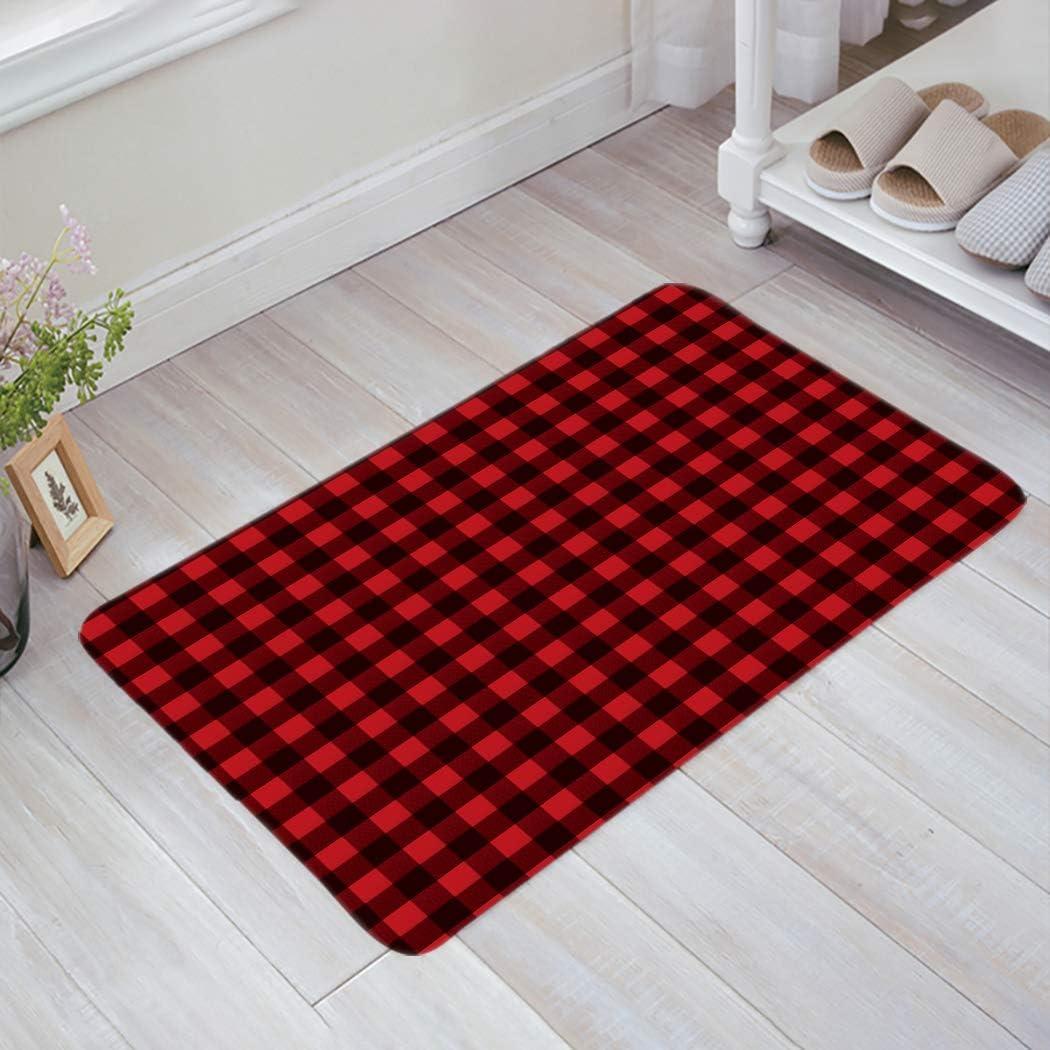 Red Black Buffalo Check Plaid Pattern Doormat Home Bathroom Bedroom Mat Toilet Kitchen Floor Decor Rug Non Slip Mat 18x30Inch