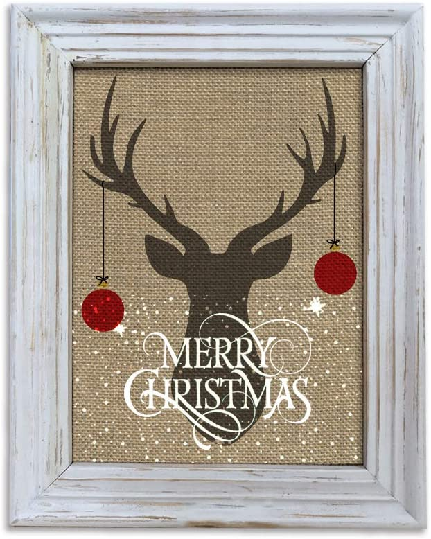Merry Christmas Wood Wall Frame Rustic Deer Head Art Prints 10 X12 Framed Wall Arts Décor Posters Prints