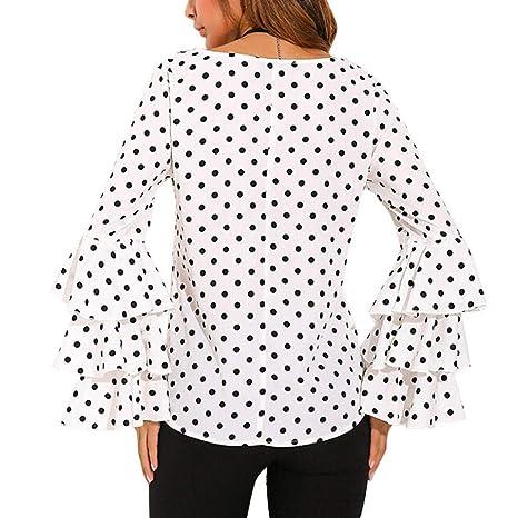 Bestow Camiseta de Mujer con Lunares flareados Camiseta de Mujer con Manga Larga con Botones de Lunares Blusa Casual de Mujer: Amazon.es: Ropa y accesorios