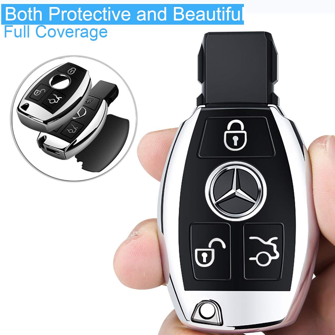 Intermerge for Mercedes Benz Key Fob Cover Premium Soft TPU Key Case Cover Compatible with Mercedes Benz C E S M CLS CLK G Class Keyless Smart Key Fob/_Silver Color
