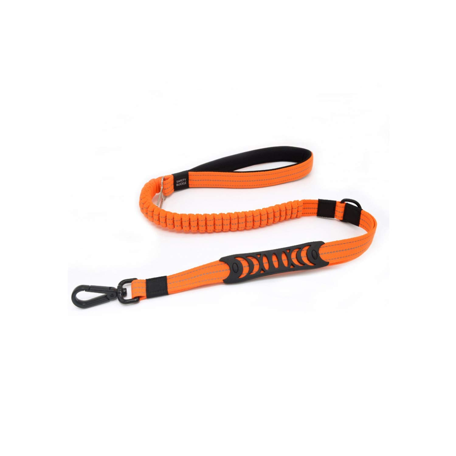 beauty-crystal Economical Adjustable Dog Seat Belt for Car Reflective Dogs Leash Dog Car Harness with Bungee Buffer,Orange,M