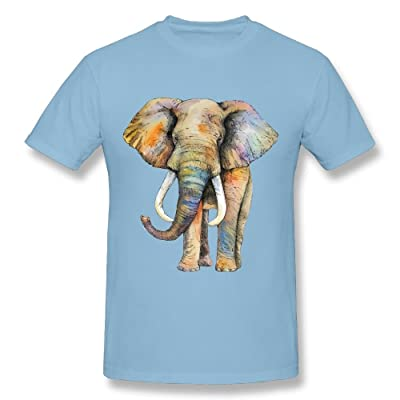 CHENLY Unisex Design T-Shirt Watercolor Elephant Painting O-Neck Tee Shirt Short Sleeve for Girl
