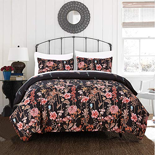 Cozyholy Girls Elegant Black Floral Duvet Cover Set Tropical Boho Leaf Pattern Comforter Cover Bedding Set, Twin Size with 1 Pillowcase