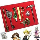 7 in 1 Box Anime Seven Deadly Sins Wepons Keychain Set Pendant Sets Meliodas' Dragon Handle Broken Sword with Gift Box Elizab