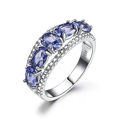 Amazon Com Tanzanite Engagement Ring Sterling Silver Women White