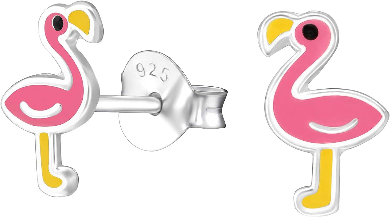 Children/'s Sterling Silver .925 pink enamel Flamingo stud earrings Gift box