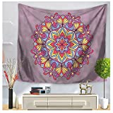 WSHINE Bohemian Mandala Tapestries Psychedelic Flower Wall Hanging Tapestry Beach Throw (z2, M)