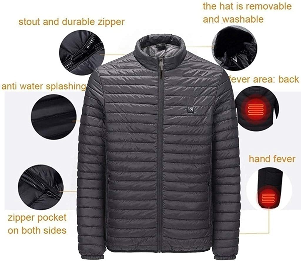 BIKETAFUWY Jacket for Men Electric Heating Warm Down Coat Winter Outdoor USB Charger Heated Clothing Softshell Outerwear