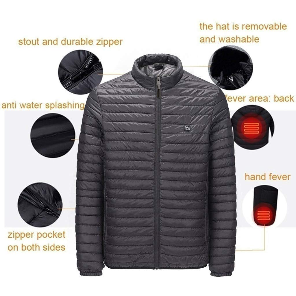 Men Heated Coat Slim Fit Jacket Soft USB Outdoor Warm Down Cotton Jacket (XL, Black) by Suoxo Men Blouse