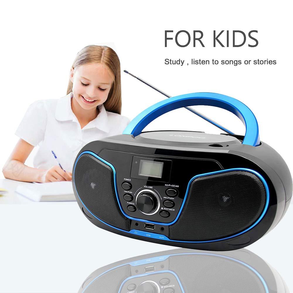LONPOO Lectore de CD Port/átil Boombox Reproductor CD Bluetooth//Radio FM//USB 2.0 AUX-IN//Salida de Auriculares//Est/éreo Altavoz //5 EQ