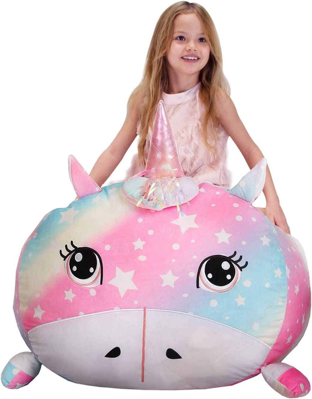 Youngeyee Stuffed Animal Storage, Kids Chairs, Unicorn Bean Bag Chair for Girls, Teen Girl Room Decor, Size 28x22 Inch, Velvet Extra Soft, Cover Only
