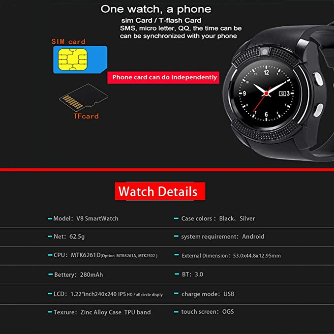 6b49bd742 V8 Smart Watch SIM et TF support de carte Bluetooth Smartwatch avec camera  moniteur de sommeil montre bracelet pour iOS smartphones Android:  Amazon.fr: ...