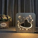 Submarine LED Table Desk lamp 3D Lamp Swan Cartoon Wooden Nightlight,USB Power Home Bedroom Decor Lamp, 3D Wood Carving Pattern LED Night Light Warm White