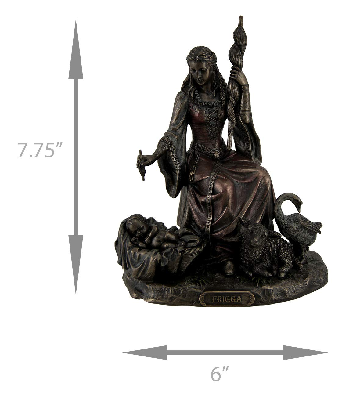 Resin Statues Frigga Norse Goddess Of Destiny Love And Marriage W//Infant Animals /& Spindle 6 X 7.75 X 4.5 Inches Bronze Unicorn Studios