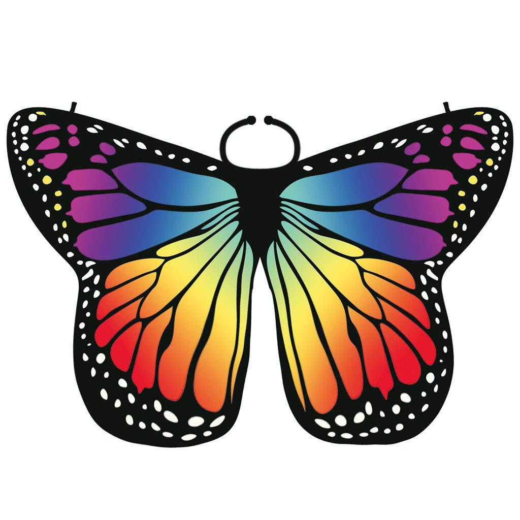 175x125cm,Azzurro Xmiral Farfalla Angelo Ali di Farfalla Scialle Mantello Butterfly Wings Accessorio per Costume da Donna Poncho con Scialle a Forma di Ali di Farfalla e Scialle da Donna