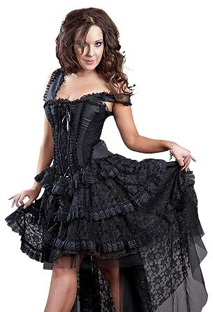 Burleska Plus Size Ophelie Gothic Black Taffeta Lace Boned Corset ...