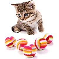 Lazder 5 Stück Regenbogen Ball Haustier Katze Spielzeug Durchmesser 3.8 cm Weich Spielen Spielzeug für Katzen