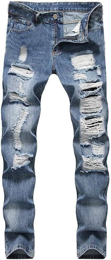 Zezkt Vaqueros Slim Para Hombre Moda Casual Pantalon De Mezclilla Stretch Jeans Rotos Casual Delgados Pantalones Vaqueros Amazon Es Ropa Y Accesorios