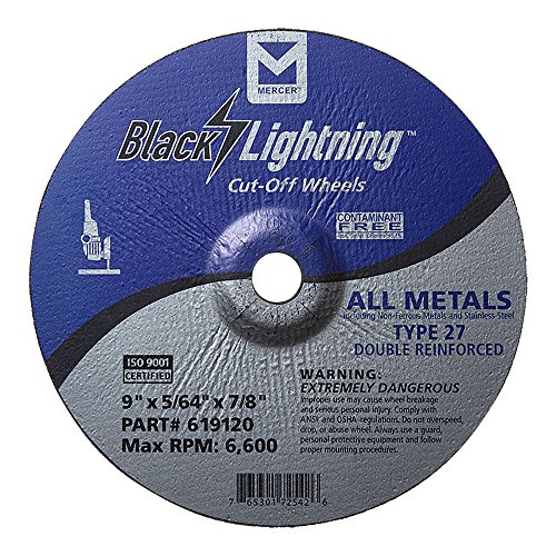 Mercer Industries 619120 Type 27 Depressed Center Black Lightning Cut-Off Wheels for All Metals incl. Stainless Steel (25 Pack), 9