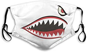 WANGLONGchang Flying Tigers P-40 Warhawk Shark Mouth Teeth Nose Reusable Dust Mask with Filter Breathable Safety Dust Face Mask Travel Masks