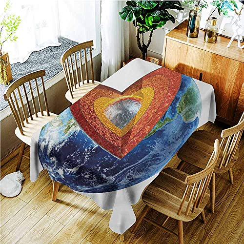TT.HOME Washable Tablecloth,Earth Earth Cross Section Showing The Inner Core Geology Science Themed Structure Print,Modern Minimalist,W60x84L,Multicolor