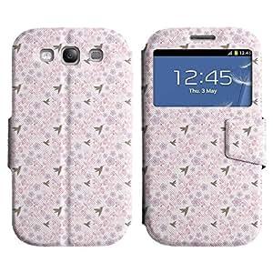 Be-Star Diseño Impreso Colorido Slim Casa Carcasa Funda Case PU Cuero - Stand Function para Samsung Galaxy S3 III / i9300 / i717 ( Birds And Flowers )