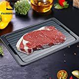 Fairbridge Metal Thawing Plate, Fast Tray-the Safest Way to Defrost Meat Or Frozen Food Quickly without Electricity, Microwave, Hot Water Or an, L (Black)