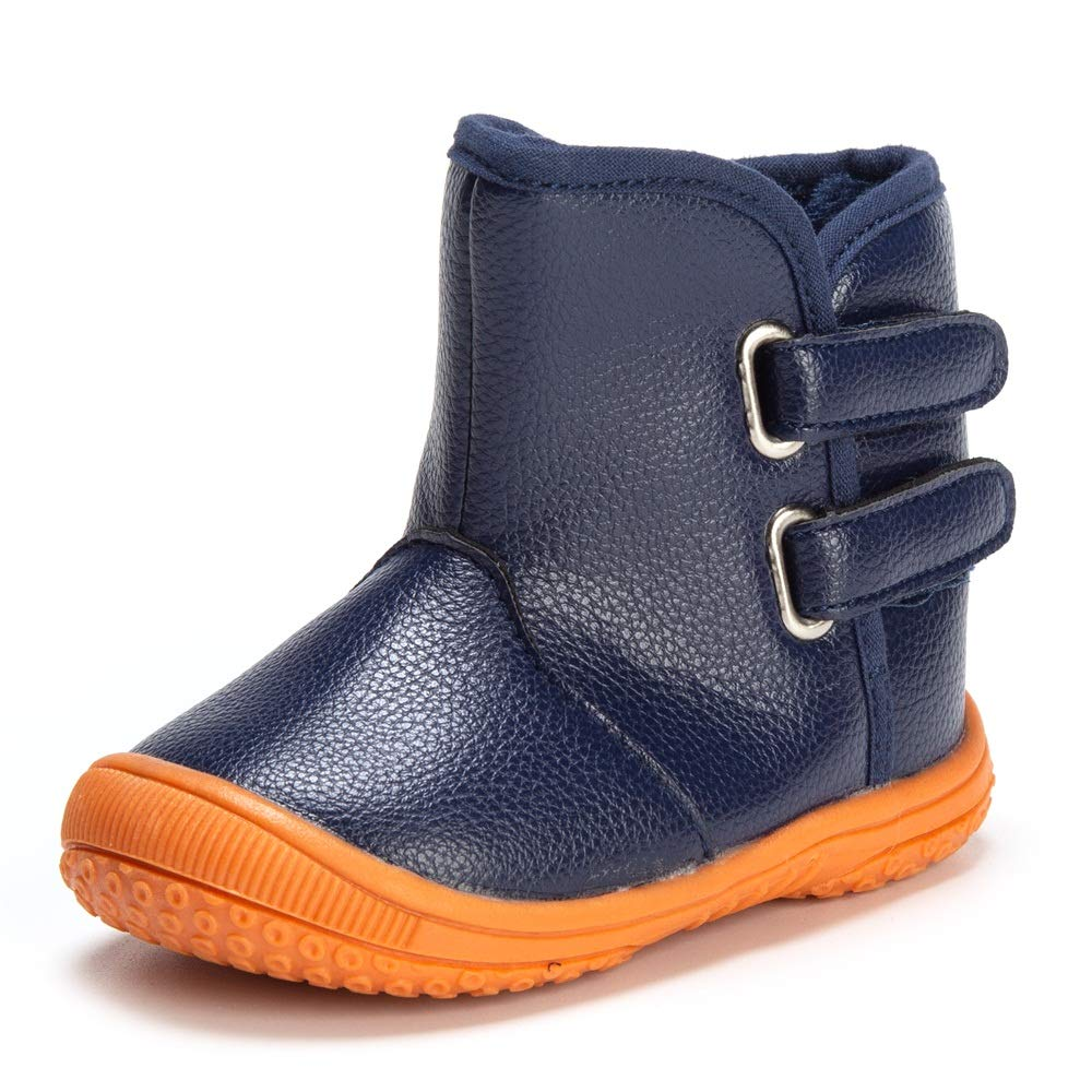 Enteer Baby Soft Rubber Sole Anti-Slip Warm Winter Prewalker Leather Toddler Boots 180919boot01