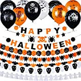 Jovitec 8 Strings Halloween Hanging Banners Paper Garlands and 20 Pieces 12 Inches Halloween Latex Balloons for Halloween Themed Party Decoration