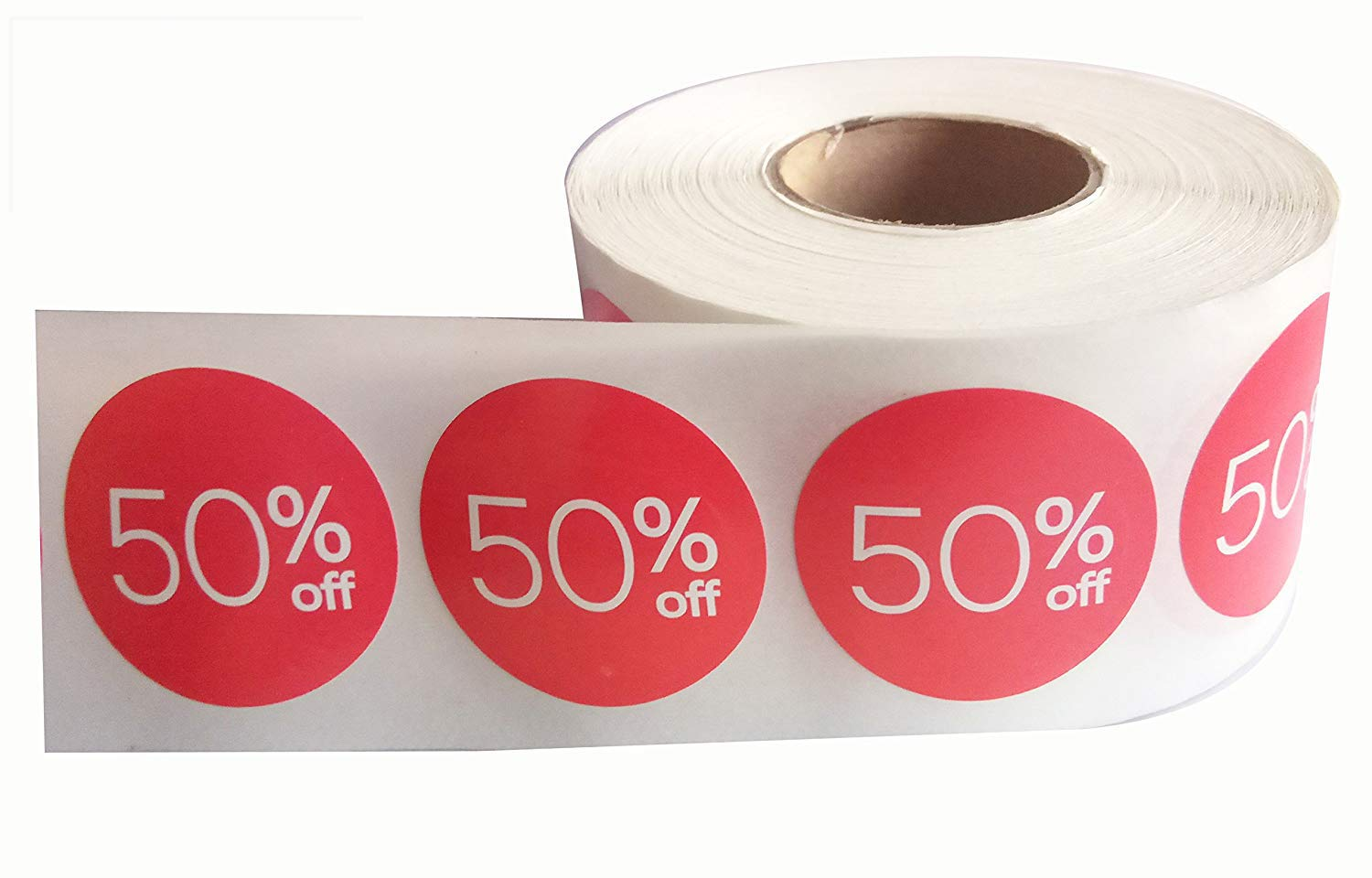 50% Off Sale Price Stickers Labels Percent Off Stickers for Retail Store Clearance Promotion Discount Deals Circle Pricemarker Half Off Labels Stickers roll (1.5 inch, Red)