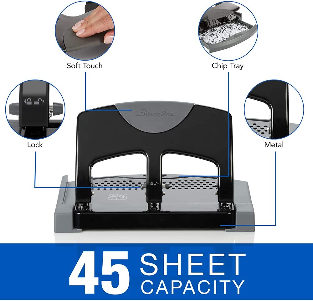 Swingline 3 Hole Punch, Desktop Hole Puncher 3 Ring, SmartTouch Metal Paper Punch, Home Office Supplies, Portable Desk Accessories, 20 Sheet Punch Capacity, Low Force, Black/Gray (74133) : Paper Punches : Office Products
