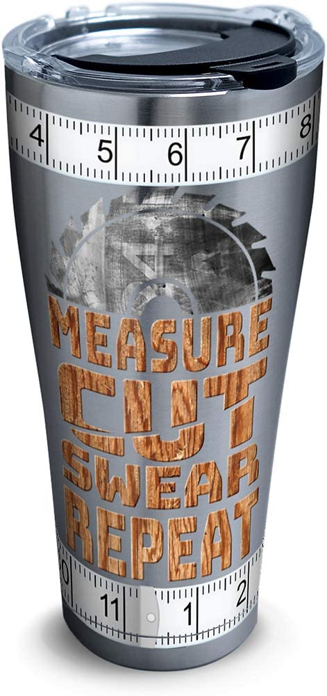 Tervis Measure Cut Swear Stainless Steel Insulated Tumbler With Lid 30 Oz Silver Tumblers Water Glasses