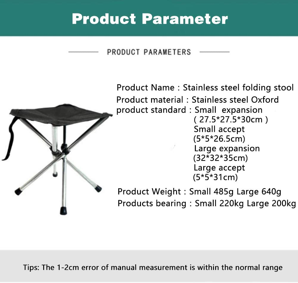 TVETGT Folding Stool Telescopic Stool Folding Chair Fishing Stool Outdoor Portable Chair Stainless Steel Camping Camping Small Bench