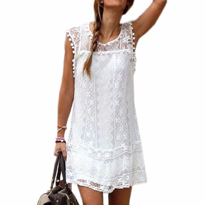 0012248e2e0e Minetom Donne Ragazze Estate A-Line Vestito Uncinetto Stampa Floreale  Vestito Con Palla Frange Mini Abito  Amazon.it  Abbigliamento