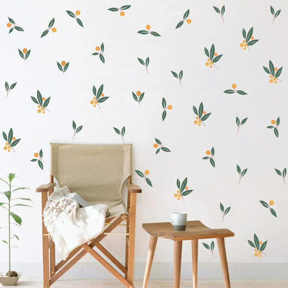 TOARTi Nordic Tangerines Green Leaves Wall Decal, Fruit Plant Fresh Leaves Sticker for Bedroom Office Decoration (32pcs Tangerines Leaf)