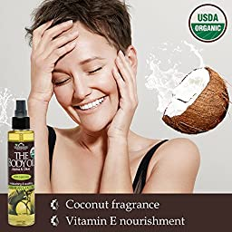 US Organic Body Oil-Blend of Jojoba and Olive Oil with fragrance of Smooth Caribbean Coconut-Vitamin E, USDA Certified, No Alcohol, Paraben, Artificial Detergents, Color or Synthetic perfumes, 5 Fl.oz