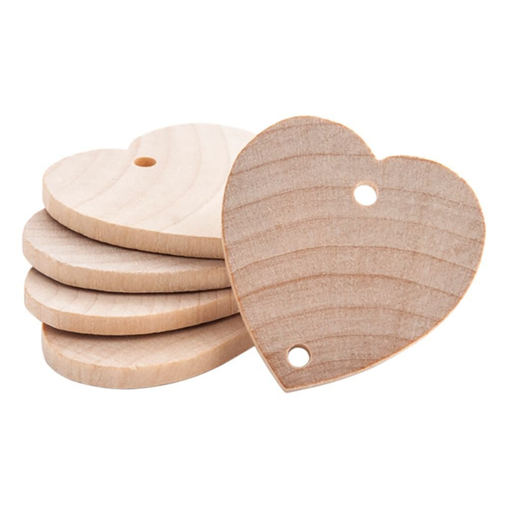 Heart Shaped 1-1/2 inch Real Wooden Board Tags – Wooden Tags For Birthday Boards, Chore Boards or other Special Dates - Bag of 25 Craftparts Direct BBH15025