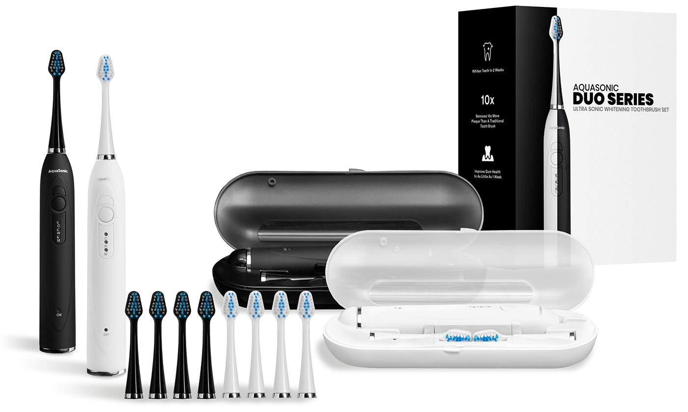 AquaSonic DUO - Dual Handle Ultra Whitening Rechargeable Electric ToothBrushes - 40,000 VPM Motor & Wireless Charging - 3 Modes with Smart Timers - 10 DuPont Brush Heads & 2 Travel Cases Included by Aquasonic (Image #2)