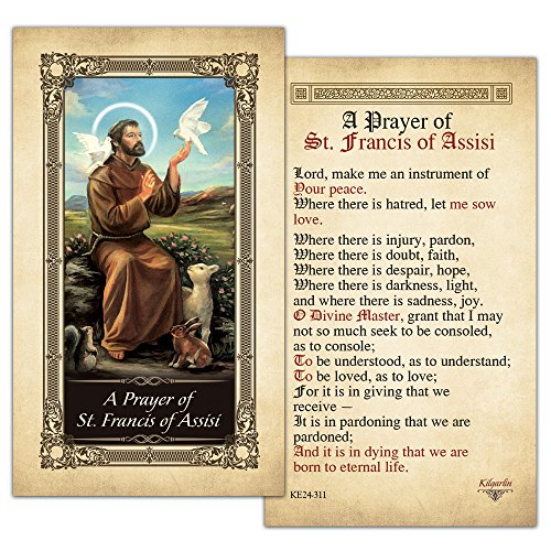 St. Francis of Assisi Laminated Prayer Card - Pack of 10