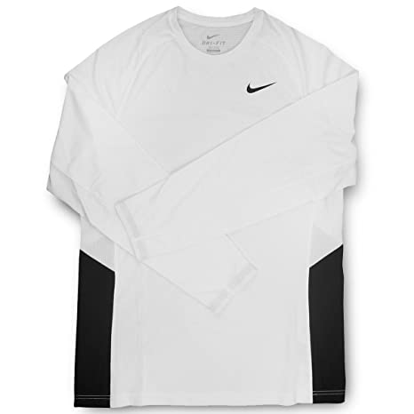 dc288bc9a375c Image Unavailable. Image not available for. Color  Nike Dri-Fit Men s Long  Sleeve White Black Training Shirt ...