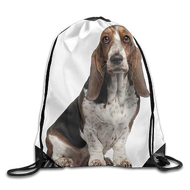 Amazon.com: Basset Hound perro ilustración bolsas de cordón ...
