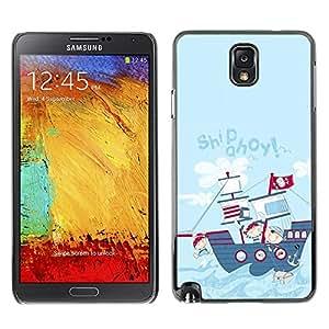 TopCaseStore / la caja del caucho duro de la cubierta de protección de la piel - Cartoon Drawing Ship Kids Children - Samsung Galaxy Note 3 N9000 N9002 N9005