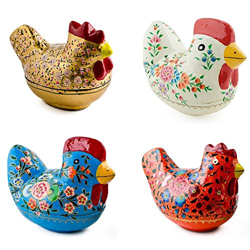 4 Decorative Figurines: Hen, Chicken and Rooster Wooden F...