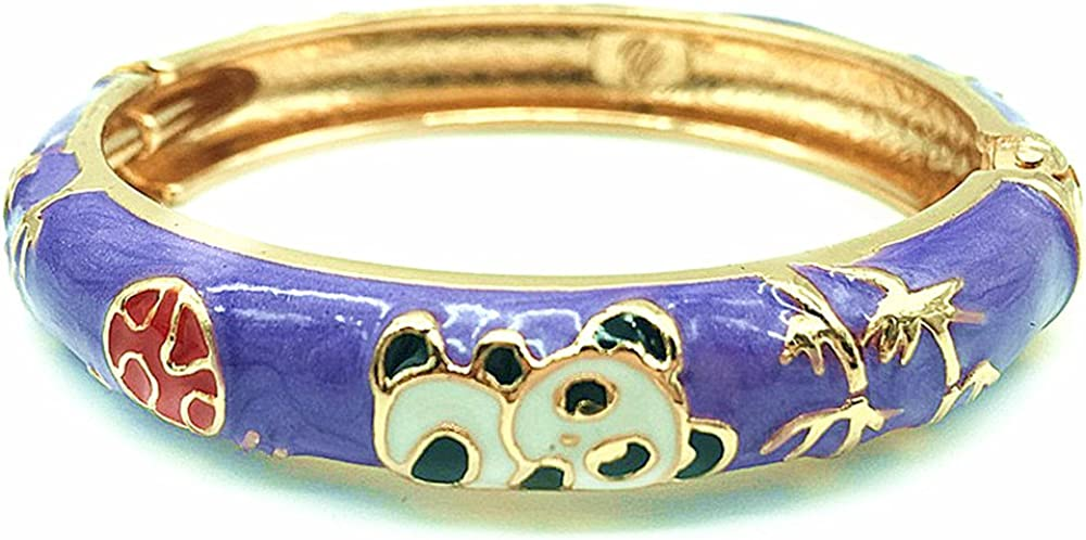 UJOY Childrens Bracelet Beautiful Cloisonne Panda Rabbit Enamel Gold Hinge Open Cuff Bangles Jewelry for Girls Gifts 55D01