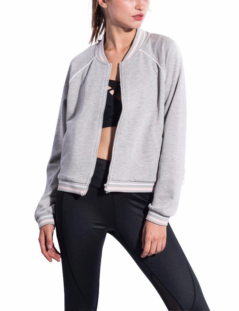 PULI Women's Long Sleeve Basic Zip Up Hoodie Outdoor(Grey, Medium)