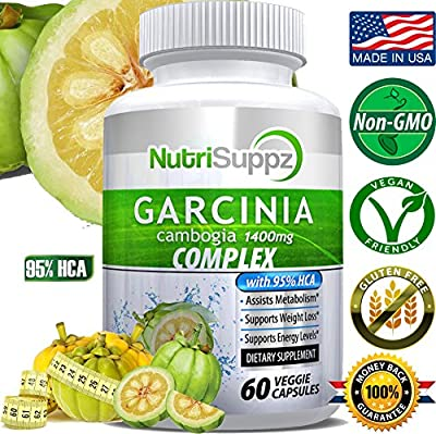 95% HCA Garcinia Cambogia ULTRA COMPLEX 1400mg With Potassium, Calcium & Chromium - Supports Weight Loss, Increased Energy Levels, Assists Metabolism - 60 Vegan Capsules
