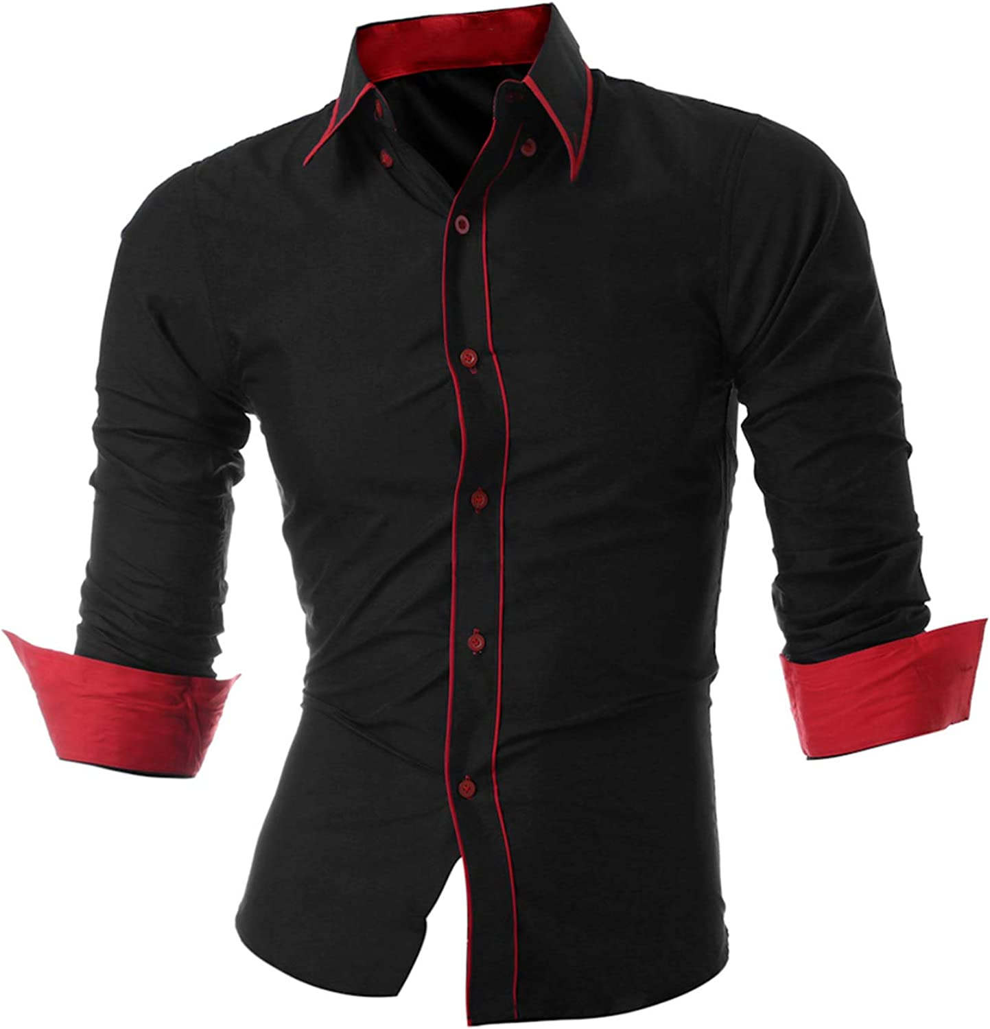 Mens Long Sleeved Man Dress Shirts Double Collar Button Slim Fit Male Shirts
