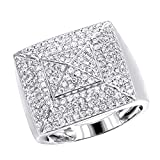 Mens Solid 10K Rose, White or Yellow Gold Pyramid Shaped Diamond Band Pinky Ring 2ctw (White, Size 10.5)