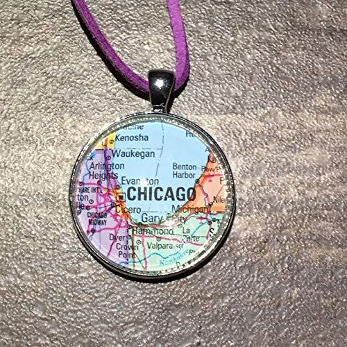 Cicero Arlington Chicago Illinois USA Map Necklace Pendant Silver Atlas VNTG GH-433